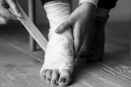 bandaged foot, ankle pain