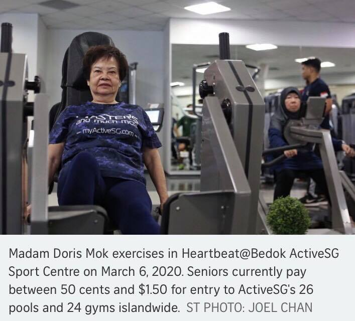 singapore seniors, free gym, activesg